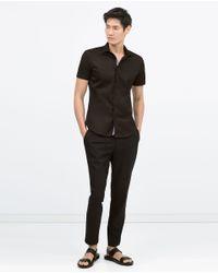 Zara   Black Stretch Shirt for Men   Lyst