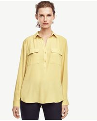 Ann Taylor - Yellow Popover Camp Shirt - Lyst