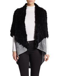 La Fiorentina | Black Cable Knit Genuine Fur Cocoon Cardigan | Lyst