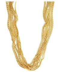 Tuleste | Metallic Gold Plated Mixed Multi-strand Long Necklace | Lyst