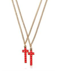 DSquared² Red Two Metal Cross Necklaces for men