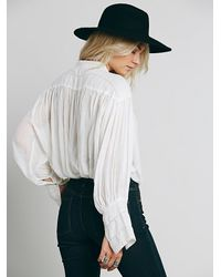 Free People | White Fp One Tie Front Blouse | Lyst