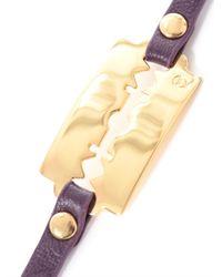 McQ - Purple Razor Blade Leather Wrap Bracelet - Lyst