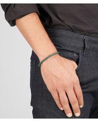 Bottega Veneta Natural Bracelet In Emerald Green Intrecciato Nappa And Silver for men