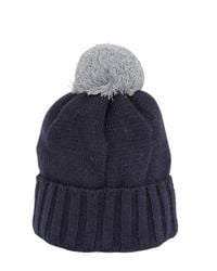 Emporio Armani Blue Knit Beanie Hat With Pompom for men