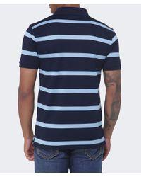 Paul And Shark Blue Narrow Stripe Pique Polo Shirt for men