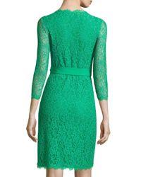 Diane von Furstenberg - Green Juliana 3/4-Sleeve Lace Wrap Dress - Lyst