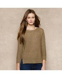 Ralph Lauren Blue Label - Brown Openknit Linen Sweater - Lyst