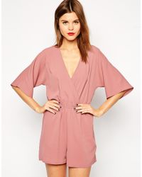 ASOS Pink Playsuit With Wrap Front And Kimono Sleeve