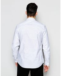 ASOS - White Oxford Shirt With Neps In Regular Fit for Men - Lyst
