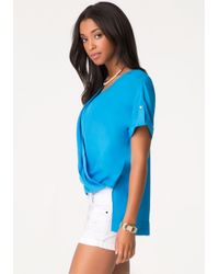Bebe Blue Short Sleeve Wrap Top