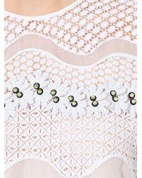 Issa White Rosemary Embellished Wave-Lace Dress