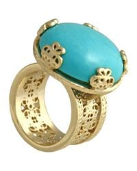 Kendra Scott Blue Tyra Wide Filigree Turquoise Ring Size 6
