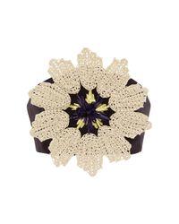 Delpozo Metallic Triple Silk Organza Crop Top With Floral Raffia Appliqué
