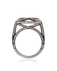 Solange Azagury-Partridge White Skeleton Square Ring