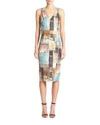 Donna Karan - Multicolor Belted V-neck Sheath Dress - Lyst
