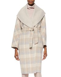 Max Mara Natural Ciriaco Plaid Wool-Blend Belted Blanket Coat