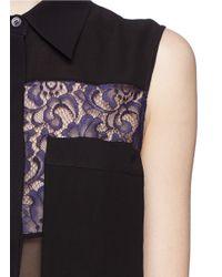 McQ | Black Lace Trim Sheer Sleeveless Shirt | Lyst
