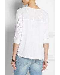 Splendid - White Draped Stretch-jersey Top - Lyst