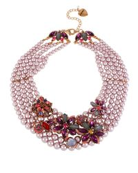 Betsey Johnson | Pink Fall Follies Faux Pearl Statement Necklace | Lyst