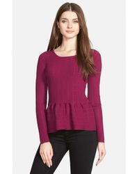 Cece by Cynthia Steffe | Purple Pointelle Ribbed Peplum Sweater | Lyst