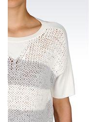 Emporio Armani - White Sweater In Viscose Blend - Lyst