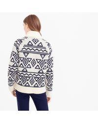 J.Crew Blue Abstract Fair Isle Zip Cardigan Sweater