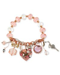 Betsey Johnson - Pink Multi-tone Multi-charm Half-stretch Bracelet - Lyst