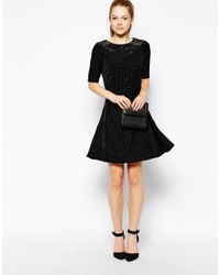Lyst - Sugarhill Starstruck Glitter Skater Dress in Black 49d3b69d0