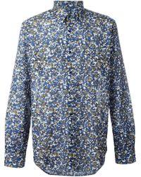 Fendi Blue Granite Print Shirt for men