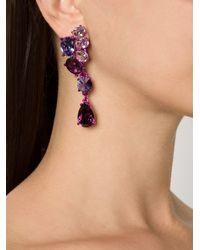 Oscar de la Renta | Purple Asymmetric Crystal Clip Earrings | Lyst