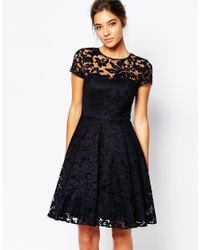Ted Baker Blue Caree Sheer Lace Overlay Dress