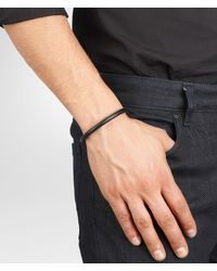 Bottega Veneta Black Nero Intrecciato Antique Silver Nappa Bracelet for men