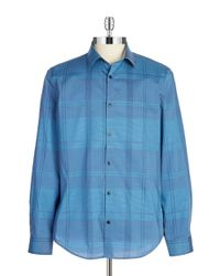 Calvin Klein | Blue Cotton Plaid Button-Down Shirt for Men | Lyst