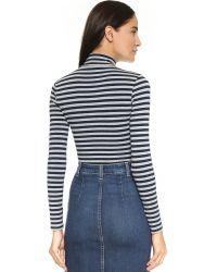 Capulet Blue Long Sleeve Turtleneck Bodysuit - Navy/heather Grey Stripe