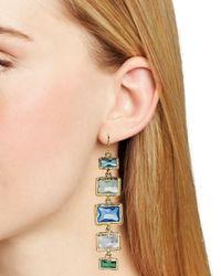 Ralph Lauren Blue Lauren Baguette Bezel Set Linear Earrings