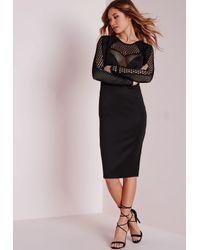 Missguided Mesh Insert Long Sleeve Midi Dress Black