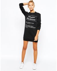 Adolescent Clothing Black Sweater Dress With Winter Fashion Print