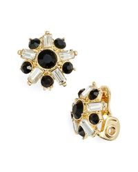 Anne Klein | Metallic Jeweled Button Clip Earrings | Lyst