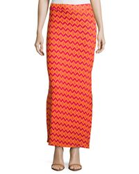 Neiman Marcus Red Printed Front-slit Maxi Skirt