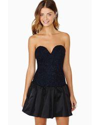 nasty gal three floor spotlight dress in navy black  lyst