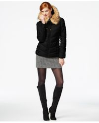 Guess | Black Faux-fur-trim Hooded Puffer Coat | Lyst