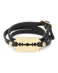 McQ | Metallic Black Razor Leather Wrap Bracelet for Men | Lyst