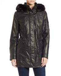 Calvin Klein | Black Faux Fur-trimmed Anorak | Lyst