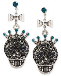 Betsey Johnson | Metallic Silver-Tone Skull Drop Earrings | Lyst