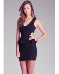 Bebe Black Cutout Peplum Dress