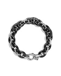 David Yurman | Metallic Midnight Mélange Oval Small Link Bracelet with Black and White Diamonds | Lyst