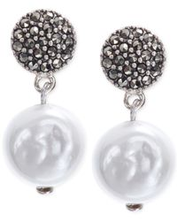 Judith Jack | Metallic Sterling Silver Marcasite And Imitation Pearl Drop Earrings | Lyst