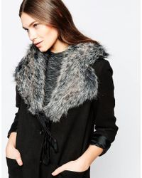 French Connection | Gray Faux Fur Collar | Lyst