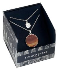 Lucky Brand | Brown Carnelian Double Pendant Necklace | Lyst